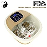 [ Best Gift !] All in One Foot Spa Massager, 8 Tai Chi Pebble Roller Massaging Acupuncture Point with Infrared Light Therapy, O2 Bubbles, Adjustable Time and Temperature