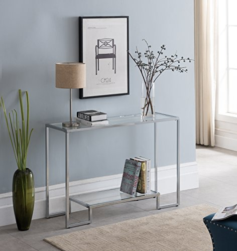 Chrome Finish / Glass Top 2-tier Console Sofa Table 44