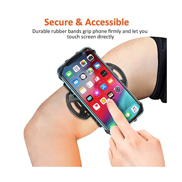 Bovon Brassard pour Smartphone, 360° Rotation Porte Téléphone Sport, Universel Armband Réglable pour Jogging & Gym…
