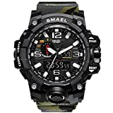HenMerry Military Digital Watch Display Sports Watches 50M Waterproof LED Backlight Wrist Watches for Men Womens (Army Green)