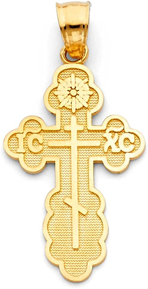 Olga Greek Baptismal Cross Pendant 14K Solid Real Yellow Gold St