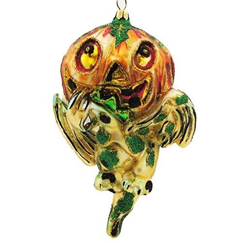 Larry Fraga GARGOYLE Blown Glass Halloween Ornament Pumpkin 4197