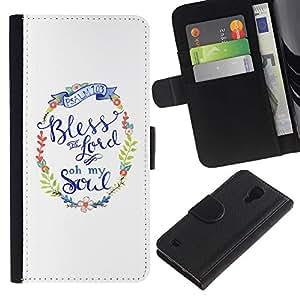 KingStore / Leather Etui en cuir / Samsung Galaxy S4 IV I9500 / Christian Religion Weiß Kranz