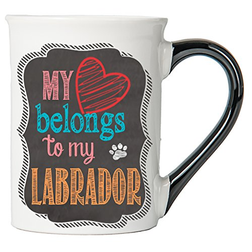Cottage Creek Dog Mug Large 18 Ounce Ceramic My Heart Belongs To My Labrador Coffee Mug/Lab Gifts Dog Gifts for Women [White]