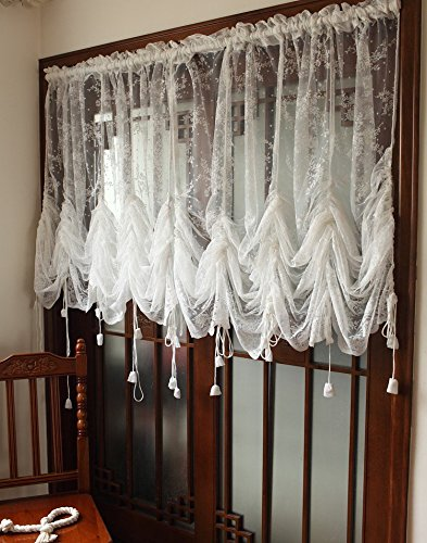 Cheap LELVA White Lace Embroidered Sheer Ballon Curtains 1-Panel Floral Tulle Curtains For Drapes (Each panel W78″ x L90″)