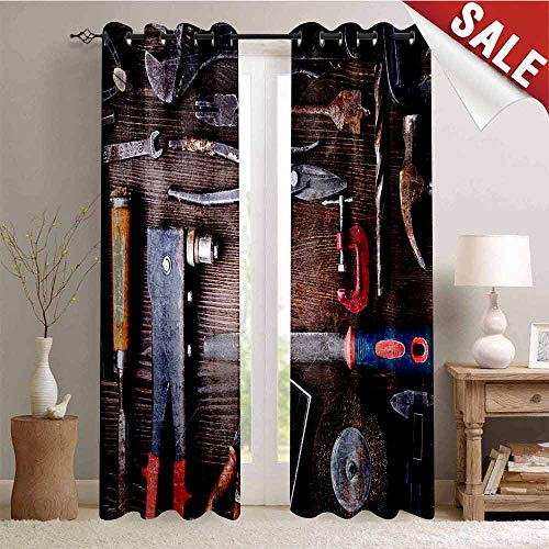 Hengshu Room Darkening Wide Curtains Crafting Equipment Obsolete Dusty Mechanic Tools Collection Carpentry Decor Curtains by W108 x L108 Inch Multicolor