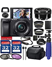 $1179 » Sony Alpha a6400 Digital Camera with 16-50mm Lens (Black ILCE-6400L/B) Bundle with Accessory Package Including 64GB Memory, Spider Vlog Tripod & More (20 Pieces)
