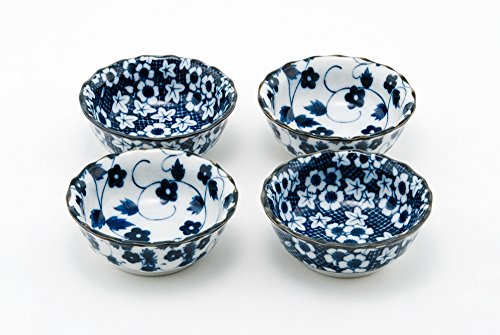 Hinomaru Collection Authentic Japanese Porcelain Small Bowl Set of 4 Perfect for Rice Bowl Snack Dessert Ice Cream Appetizer Made in Japan (Momiji Kiku) ()