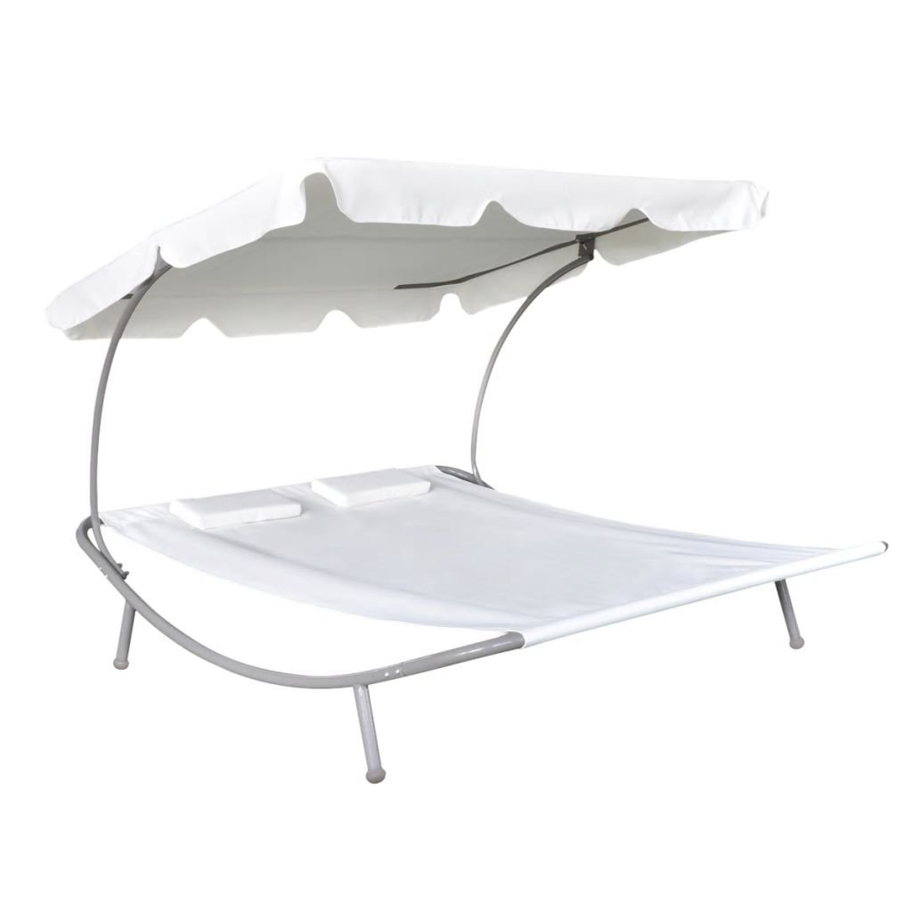 Lounge Chaise, Outdoor Portable Double Chaise Lounge Hammock Bed, 2-Persons Loungebed with Canopy, Sun Bed with 2 Pillows Outdoor Garden, Backyard, Patio Weather Resistant, Cream White by Galapara