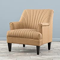 Lynette Channel Camel Tan Fabric Club Chair