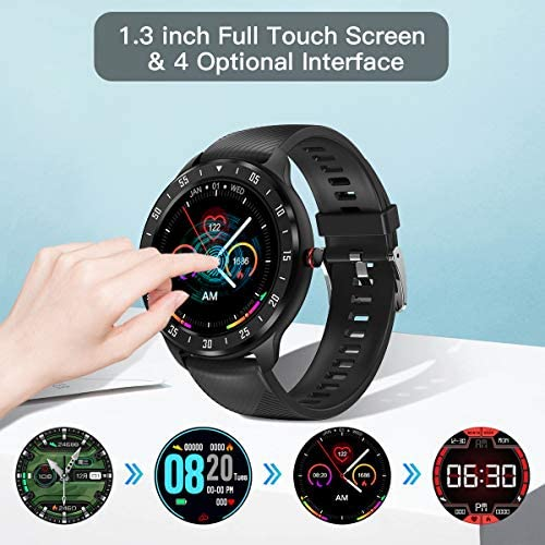 CanMixs Smart Watch for Android iOS Phones, 1.3″ Touch Screen Bluetooth Fitness Tracker Watches for Men Women, IP67 Waterproof Activity Tracker with Heart Rate Monitor Sleep Compatible Samsung iPhone 51ytqairK9L