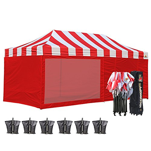 (12+ colors)Abccanopy 10 X 20 Carnival Pop up Canopy Popcorn Cotton Candy Vending Tent + 6 Sidewalls + 2 Sideskirt +1 Screen Wall+ 1 Wheeled Bag + 6 Weight Bag (red/white with red walls) (Vending Package)
