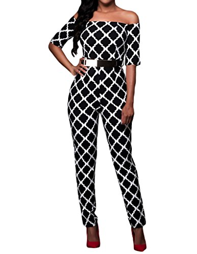 Shawhuwa Womens Sexy Geometric Print Off Shoulder Belted Jumpsuit Clubwear M A-black