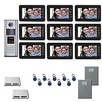 Multitenant Video Intercom Nine 7 inch color monitor door panel kit