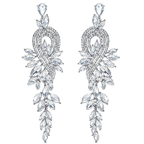 mecresh Silver Marquise Crystal Bridal Chandelier Dangle Earrings Ladies Gifts Crystal Chandelier Pierced Earrings