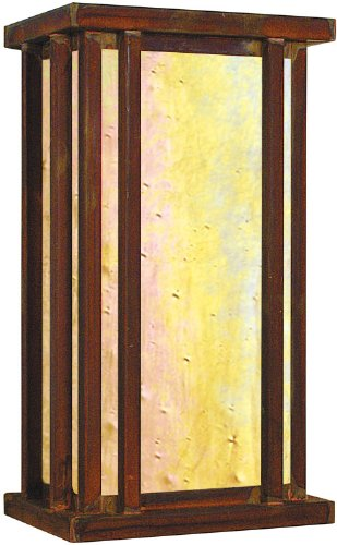 Arroyo Craftsman GLB-6GW-RC Glencoe Collection 1-Light Exterior Wall Lantern, Raw Copper Finish with Gold White Iridescent Glass