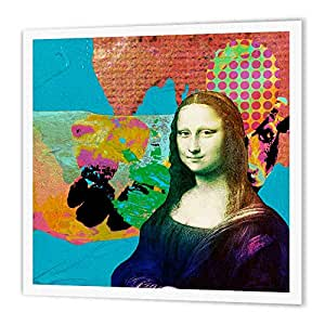 3dRose ht_172192_3 Mona Lisa and The Colorful Cow Digital Collage Iron on Heat Transfer, 10 by 10-Inch, for White Material