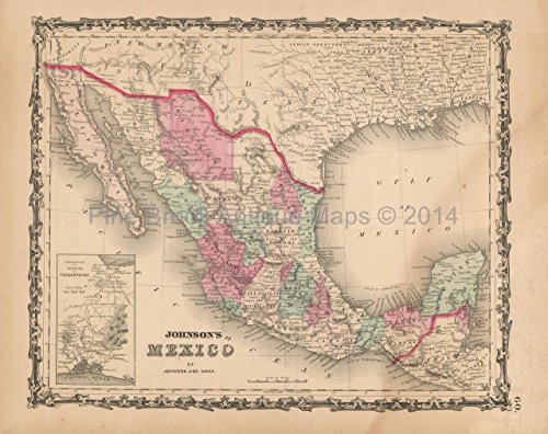Mexico Antique Map Johnson 1862 Authentic Mexican Decor History Gift (Mexico Antique)