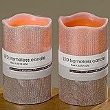 LED-Kerze 2sort H12 D7cm rosa Kunststoff 3XAAA,1.5V,nicht enthalten 1 LED