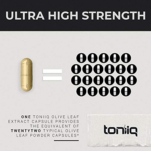 Ultra High Strength Olive Leaf Capsules - 40% Oleuropein - 500mg 22x Concentrated Extract (22,000 mg Raw Powder Equivalent) - The Strongest Olive Leaf Supplement Available - Immune Support Supplement