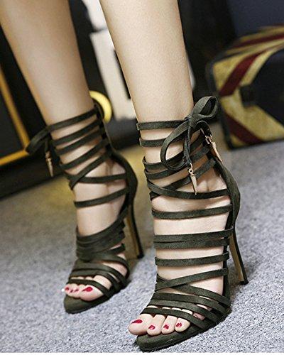 Lacets Croisés Stiletto à Femme Sandales Ouvert Vert Sexy Aisun Bout wqRUgXZ