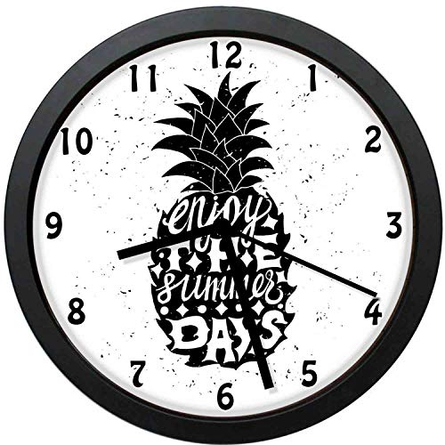 Akalidebaih Motivational Slogan on a Exotic Pineapple Indigenous Hawaiian Fruit-Decorative Wall Clock,10inch-The Best Gift (Top 100 Slogans On Environment For All Occasions)
