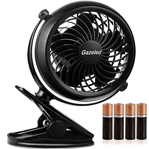 Gazeled Battery Operated Clip on Fan, Small Battery Powered