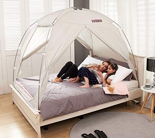 BESTEN Floorless Indoor Privacy Tent on Bed with Color Poles for Cozy Sleep in Drafty Rooms (Twin, Gray)
