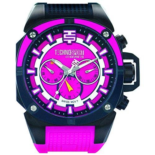TechnoSport TS-100-11M Women's Watch Swiss Multifunction Movement Fuscia/Black Strap