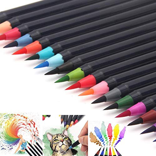 GuGio Watercolor Brush Markers Pen, Water Based Drawing Marker Brushes W/A Water Coloring Brush, Water Colored Ink W/Soft Flexible Tip for Adult Coloring Books, Manga, Comic, Calligraphy