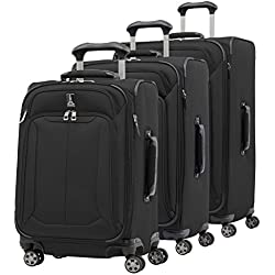 "Travelpro Skypro Lite 3-Piece Expandable 8-Wheel Luggage Spinner Set: 29"", 25"", and 21"" (Black)"