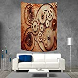 smallbeefly Vintage Wall Tapestry Mechanical Clocks Details Old Rusty Look Backdrop Gears Steampunk Design Home Decorations for Living Room Bedroom 54W x 84L INCH Dark Orange Beige