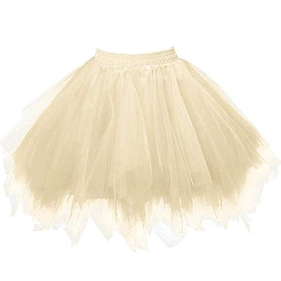 Falda de Tutu Mujer, SHOBDW Pettiskirt Sólido Gasa Plisada Falda ...