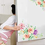 Fasclot Colorful Flowers 3D Wall Stickers Beautiful Peony Fridge Stickers Toilet Decorat