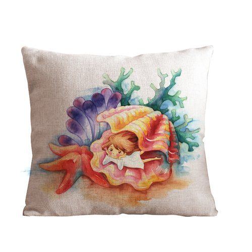 OneMtoss 24 X 24 Inch Cotton Linen Decorative Throw Pillow Cover Cushion Case, Shell and Girl -