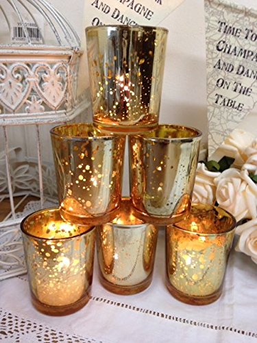Set of 6 mercury glass gold tea light holder candle votive wedding set of 6 mercury glass gold tea light holder candle votive wedding decoration junglespirit Gallery
