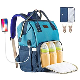 Diaper Bag Backpack for Baby Girls Mom Land Maternity Bag Travel Large with Changing Pad USB Charging Port Stroller Straps(Lake Blue Dark Blue)