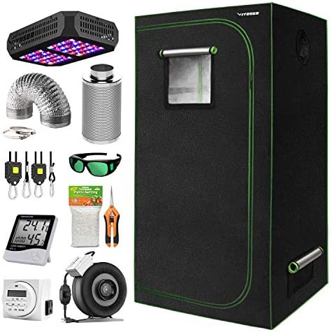 VIVOSUN 24 x24 x48 Indoor Grow Tent Complete Kit with Air Filtration Kit, Ducting Combo, 300W Led Grow Light, Glasses, Hand Pruner, Garden Netting, Timer, Rope Hanger and Hygrometer Thermometer