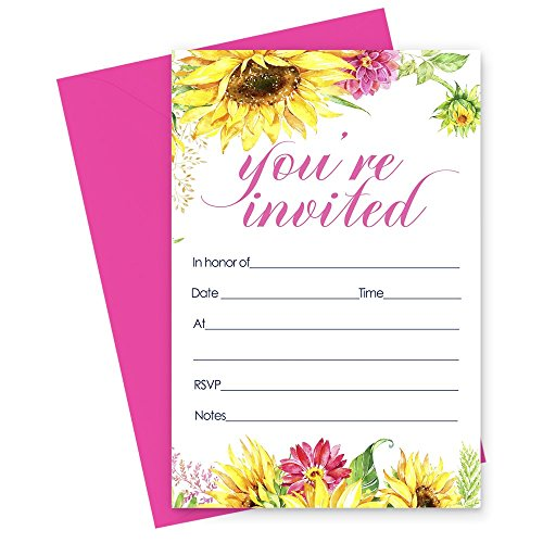 15 Sunflower Invitations and Pink Envelopes for Baby Shower, Baptism, Wedding, Birthday -