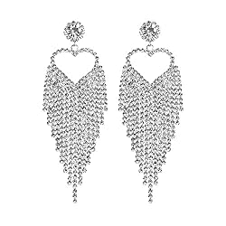 Rhinestone Heart Sparkling Long Tassels Dangle Earrings