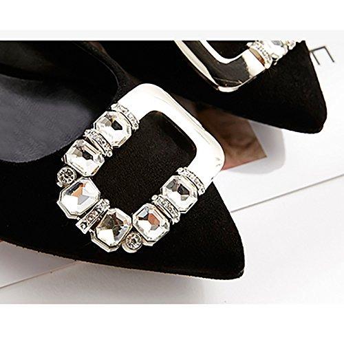 Strass Noir Mme Chaussures Boucle Profonde WENJUN Noir Travail Bouche Plates Côté Scoop Chaussures Suede Astuce Peu Couleur Yard 38 Chaussures Chaussures Occupation Petite Taille AExPgfqwP