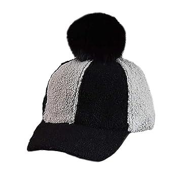 Amazon.com   Inkach Baby Girls Baseball Caps with Pom-Poms Splicing Winter  Keep Warm Hats Hairball (Black)   Baby b20b5b8302d