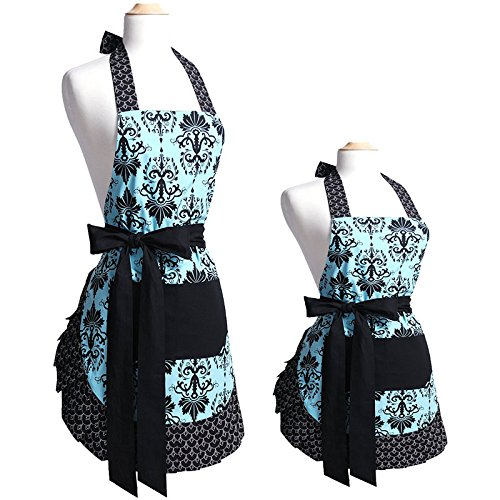 Lovely Flower Pattern 100% Cotton Garden Aprons Parent-Child Cooking kitchen Or Barbecue Apron Chef Bib With One Convenient Pocket In Front For Great Gife (Parent-Child) (Apron Front Bar)