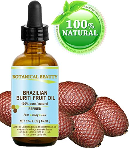 BURITI FRUIT OIL Brazilian. 100% Pure / Natural / REFINED Undiluted Cold Pressed Carrier Oil . For Face, Body, Hair, Lip and Nail Care. 0.5 fl oz- 15 ml. One the richest natural source of vitamin A,