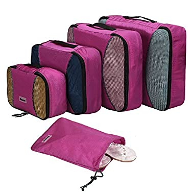 Homdox 4 Piece Set Packing Cubes with Laundry Bag (Honeycomb fabric Rose Red)