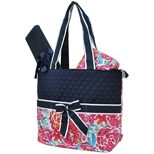 All Flowers in the Garden Print NGIL Quilted 3pc Diaper Bag ()