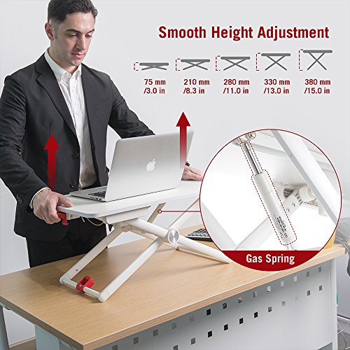 """TaoTronics Standing Desk Converter, Height-Adjustable Stand Up Desk, 24"""" Laptop Table, Notebook Stand, Sit to Stand in Seconds, White by TaoTronics (Image #2)'"""
