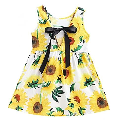 Baby Girl Jurk Mouwloos Flower Gedrukt Vest Princess Dress for Infant Girl White Sunflowers 100cm