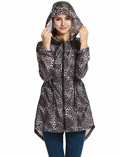 Elesol Women's Lightweight Packable Windproof Hoodies Outdoor Coat Rain Jacket Leopard Coffee M (Leopard Raincoat)