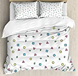 90s Duvet Cover Set by Ambesonne, Colorful Mosaic Pattern with Geometric Shapes in Memphis Style Artistic Doodle Print, 3 Piece Bedding Set with Pillow Shams, Queen / Full, Blue Green